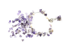 Purple gemstone bracelet Stock Image