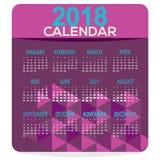 2018 Purple Geometric Printable Calendar Starts Sunday. Vector Illustration Royalty Free Stock Photo