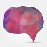 Purple geometric speech bubble with triangular polygons Stock Photography