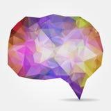 Purple geometric speech bubble with triangular polygons Stock Photos