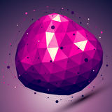 Purple geometric vector abstract 3D complicated lattice backdrop. Lilac deformed conceptual gemstone illustration Stock Photos