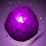 Purple geometric vector abstract 3D complicated lattice backdrop. Lilac deformed conceptual gemstone illustration Royalty Free Stock Photography