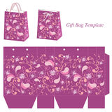 Purple gift bag template with seamless pattern Royalty Free Stock Photography
