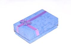 Purple gift box. A box for a present isolated on a white background royalty free stock photo