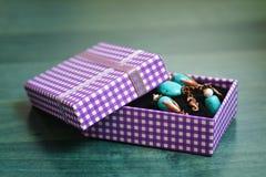 Purple gift box Stock Image