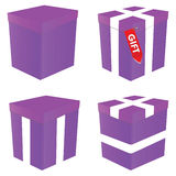 Purple gift box illustration. Art vector on white Stock Images