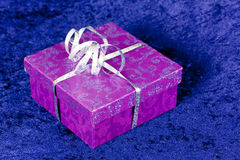 Purple gift box,with ribbon Stock Images