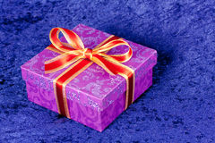 Purple gift box,with ribbon Royalty Free Stock Photography