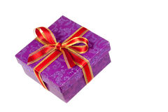 Purple gift box,with ribbon,isolated on white Stock Images
