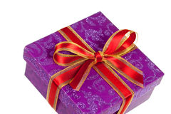Purple gift box,with ribbon,isolated on white Royalty Free Stock Image