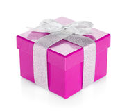 Purple gift box with silver ribbon and bow Stock Photography