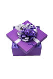Purple Gift Box With Silver Ribbon and Heart Shaped Balloon, Iso Royalty Free Stock Photos