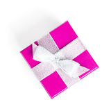 Purple gift box with silver ribbon Royalty Free Stock Images