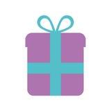 Purple gift box wrap ribbon Royalty Free Stock Photos