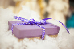 Purple gift boxes with satin ribbons Stock Photography