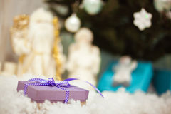 Purple gift boxes with satin ribbons Stock Photo