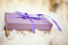 Purple gift boxes with satin ribbons Royalty Free Stock Photos