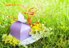 Purple gift with a butterfly on a background of green grass with meadow flowers Stock Photos