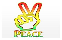 Peace written in the Jamaica color stock illustration