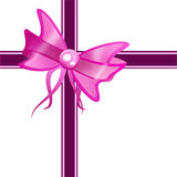 Purple gift ribbon bow Royalty Free Stock Image