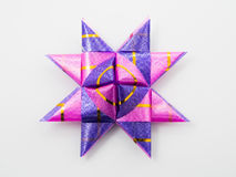 Purple gift star bows with ribbons Royalty Free Stock Images