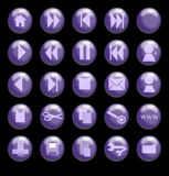 Purple Glass Buttons on a Black Background vector illustration