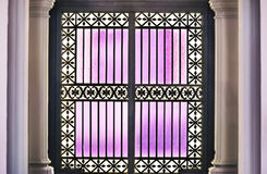 Purple glass door Royalty Free Stock Photography