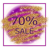Purple glitter  background in frame Royalty Free Stock Images