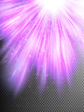 Purple glitter particles background effect. EPS 10. Purple glitter particles background effect. Sparkling texture. Star dust sparks in explosion, bokeh special Stock Photography