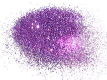 Purple glitter sparkle on white background with place for your text Royalty Free Stock Photography