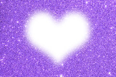 Purple glitter texture abstract background, white heart Stock Image