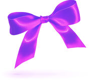 Purple glossy silk bow isolated on white Royalty Free Stock Photo