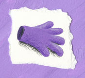 Purple glove on the purple background Stock Photography