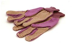 Purple gloves. Pair of purple ladies gardening gloves Royalty Free Stock Photo
