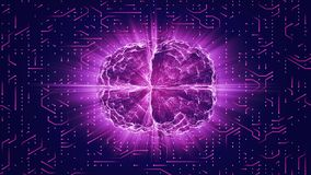 Purple glowing brain wired on neural surface or electronic conductors. Artificial intelligence AI and High Tech Concept Royalty Free Stock Photo