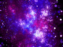 Purple glowing deep interstellar space with particles Royalty Free Stock Photo
