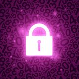 Purple glowing lock Royalty Free Stock Images