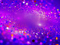 Purple glowing particles in space Royalty Free Stock Photo