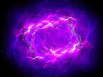 Purple glowing plasma lightning in space. Computer generated abstract background, 3D rendering Royalty Free Stock Photo