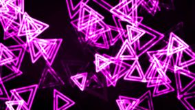 Purple Glowing Triangles with Neon Effect Animation Background Backdrop stock footage