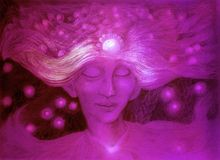 Purple god of the starry wind, ornamental detailed drawing Stock Photography