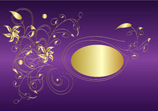 Purple and gold. Gold flower decorations on purple background,vector Royalty Free Stock Photos