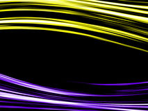 Purple and Gold Abstract Background. An abstract background consisting of purple and gold light flowing across a black background Royalty Free Stock Photography