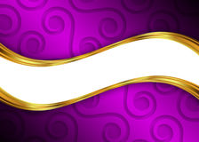 Purple and gold abstract background template for website, banner, business card, invitation. Postcard, brochure Stock Images