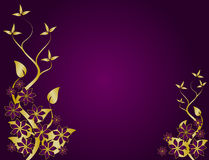 Purple and Gold Abstract Floral Background Vector Stock Photos