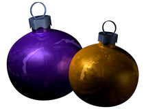 Purple and gold christmas balls. It's a close-up on two shiny christmas balls stock illustration