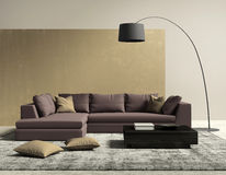 Purple and gold contemporary modern living room stock image