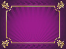 Purple and Gold Elegant Holly Trimmed Background Stock Photos