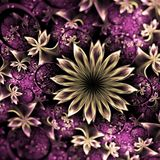 Purple and gold fractal flowers. Digital artwork for creative graphic design Stock Photos