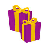 Purple and Gold Gift presents Royalty Free Stock Images